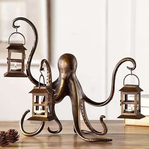Ornate Octopus Tea Light Lamp